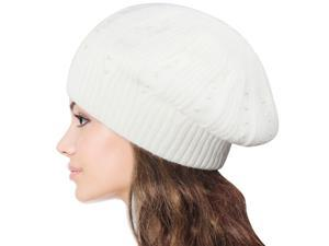 Women's Pearl Accented Angora Blend Slouch Beanie Hat - White
