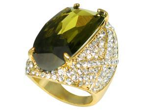 Estate Style Cubic Zirconia Sparkling Cocktail Ring (Olive Green) - Size 9.5