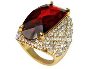 Estate Style Cubic Zirconia Sparkling Cocktail Ring (Burgundy) - Size 7
