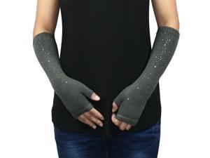 Women's Fashion Sparkling Rhinestone Light Acrylic Fingerless Arm Warmer Gloves