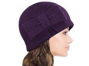 Women's Vintage Large Bow Wool Cloche Bucket Hat - Purple