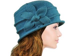 Dahlia Women's Daisy Flower Wool Cloche Bucket Hat - Teal Blue