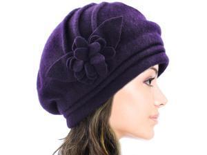 Dahlia Women's Elegant Flower Wool Cloche Bucket Slouch Hat - Purple