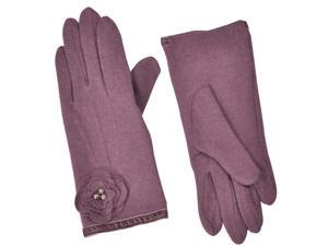 Dahlia Women's Faux Pearl Accented Flower Wool Blend Dress Gloves - Puce Pink