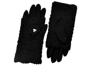 Dahlia Two in One Pearl Flower Crochet Hand Warmer Gloves - Black