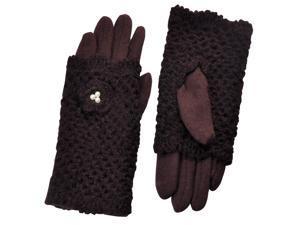 Dahlia Two in One Pearl Flower Crochet Hand Warmer Gloves - Brown