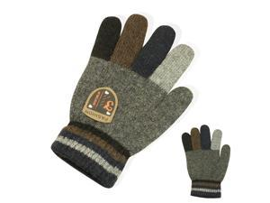 Men's Acrylic Fashion Knitted Colorful Fingers Gloves - Gray