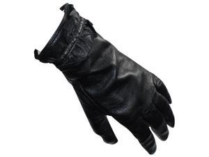 Women's Ruffled Edge Soft Lining Leather Gloves - Black