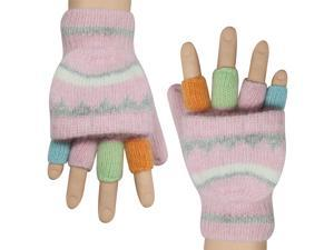 Women's Colorful Pop-Top Convertible Wool Blend Knit Fingerless Mitten Gloves -