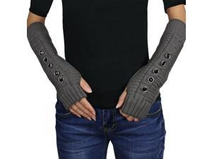 Women's Five Faceted Button Soft Acrylic Ribbed Knit Fingerless Arm Warmer Glove