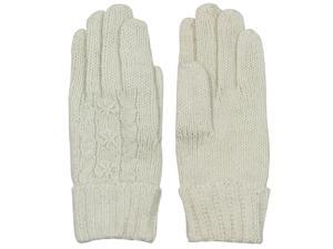 Women's Star and Cable Wool Blend Knit Gloves - Tan