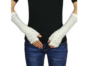 Women's Fashion Sparkling Rhinestone Light Acrylic Fingerless Arm Warmer Gloves