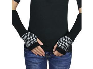 Women's Honeycomb Pattern Soft Acrylic Fingerless Arm Warmer Gloves - Black
