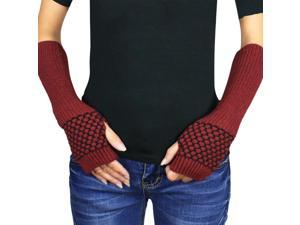 Women's Honeycomb Pattern Soft Acrylic Fingerless Arm Warmer Gloves - Red