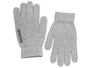 Men's Solid Color Knitted Wool Acrylic Blend Gloves - Light Gray