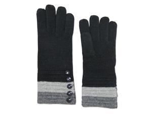 Women's Five Buttons Wool Blend Cuff Knit Gloves - Black