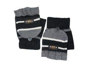 Men's Striped Pop-Top Convertible Knitted Acrylic Fingerless Mitten Gloves - Bla