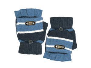 Men's Striped Pop-Top Convertible Knitted Acrylic Fingerless Mitten Gloves - Blu