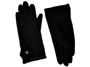 Dahlia Women's Faux Pearl Accented Flower Wool Blend Dress Gloves - Black