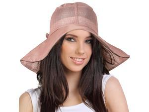 Breezy Silver Thread Large Ribbon Bow Shapeable Floppy Sun Hat - Rosy Pink