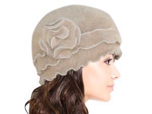 Dahlia Women's Super Soft Flower Ruffle Laciness Angora Blend Knit Beanie Hat - Camel