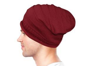 Dahlia Unisex Solid Color Acrylic Slouch Beanie Hat - Red