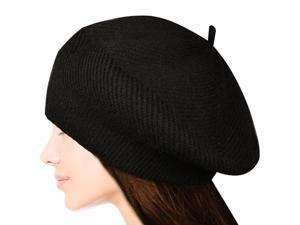 Women's Fluffy Twisted Classic Beret Acrylic Rabbit Hair Knit Beanie Hat - Black