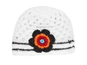 Cute Stripe Single Flower Hand Crochet Acrylic Baby Beanie Hat - One Flower Whit