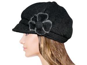Women's Chic Flower Wool Blend Newsboy Hat - Black