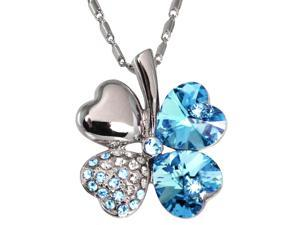 18k Gold Plated Swarovski Crystal Heart Shaped Four Leaf Clover Pendant Necklace (Aquamarine Blue)