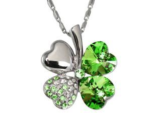 18k Gold Plated Swarovski Crystal Heart Shaped Four Leaf Clover Pendant Necklace (Peridot Green) 208257.9937GR