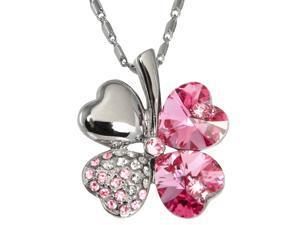 18k Gold Plated Swarovski Crystal Heart Shaped Four Leaf Clover Pendant Necklace (Pink Sapphire)