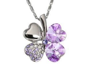 18k Gold Plated Swarovski Crystal Heart Shaped Four Leaf Clover Pendant Necklace (Amethyst Purple)