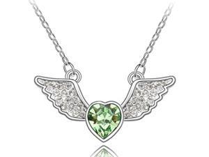 Angel Heart Swarovski Elements Heart Shaped Crystal Rhodium Plated Necklace - Peridot Green