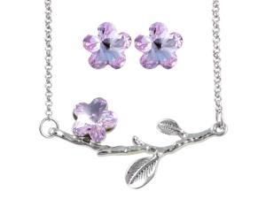 Spring Bloom Cherry Blossom Shaped Swarovski Elements Crystal Rhodium Plated Necklace and Earrings Set - Amethyst Purple