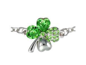 Four Leaf Clover Heart Shaped Swarovski Elements Crystal Rhodium Plated Chain Bracelet - Peridot Green