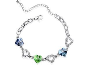 Colorful Heart Swarovski Elements Heart Shaped Crystal Rhodium Plated Bracelet - Aquamarine, Peridot, Topaz