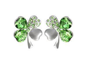 Four Leaf Clover Heart Shaped Swarovski Elements Crystal Rhodium Plated Stud Earrings - Peridot Green
