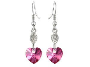 Sparkling Oval Dangle Heart Shaped Swarovski Elements Crystal Rhodium Plated Drop Earrings - Pink Sapphire