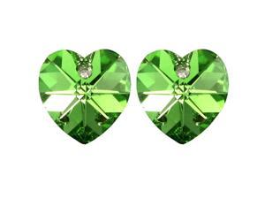 Crystal Heart Swarovski Elements Heart Shaped Crystal Rhodium Plated Stud Earrings - Peridot Green