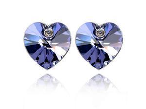 Crystal Heart Swarovski Elements Heart Shaped Crystal Rhodium Plated Stud Earrings - Amethyst Purple