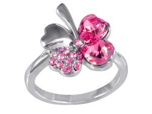 Four Leaf Clover Heart Shaped Swarovski Elements Crystal Rhodium Plated Fashion Ring (Pink Sapphire) - Size 7.5