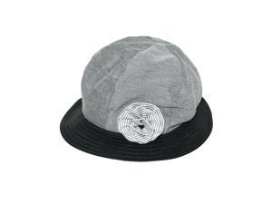 Stripe Flower Black Straw Brim Sun Hat - Gray