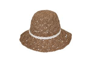 Lace Bow Crochet Straw Hat - Tan