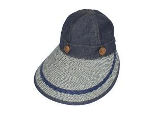 Two in One Wide Straw Brim Visor Hat - Navy Blue