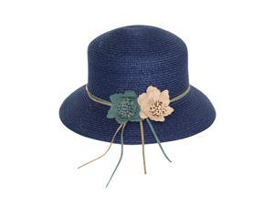 Double Suede Flower Straw Bucket Hat - Navy Blue