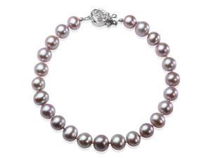 """Lavender 6-7mm AAA Cultured Pearl Sterling Silver Rose Clasp Bracelet 7"""" (LS1R2)"""