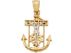 14K Yellow Gold With White Gold Two Tone Mariner'S Cross 56.00X44.00 Mm