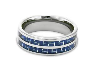 Tungsten Carbide Ring with Blue Carbon Fiber Inlays 8MM size 9