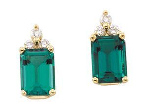 14K Yellow Gold Chatham Created Emerald And Diamond Earrings